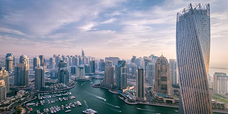 De prachtige skyline van Dubai